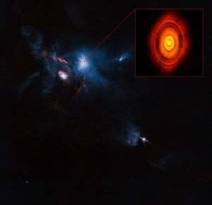 A composite Hubble/ALMA image of the Taurus Molecular Cloud. The detail show the ALMA photograph of HL Tauri with its protoplanetary disk.